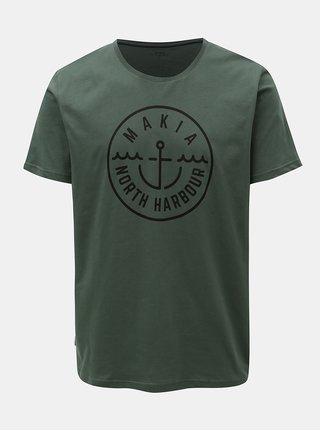 Tricou verde inchis cu print Makia Crown