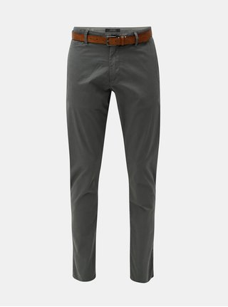 Pantaloni barbatesti chino slim fit straight gri cu curea s.Oliver