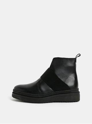Černé kožené kotníkové boty Pieces Dessa