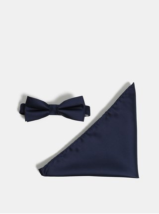 Tmavě modrý motýlek s kapesníčkem Selected Homme Night Bowtie