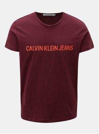Vínové pánske tričko s potlačou Calvin Klein Jeans