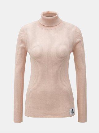 Ružový dámsky rolák s nášivkou a prímesou vlny Calvin Klein Jeans