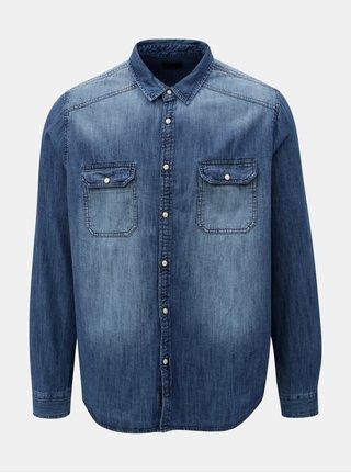 Modrá rifľová košeľa s vyšúchaným efektom Burton Menswear London Western