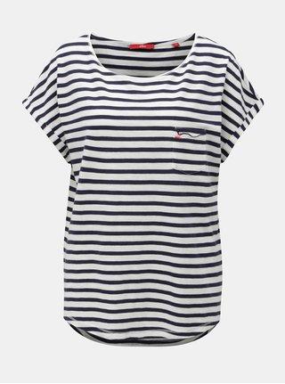 Bílo-modré dámské pruhované tričko s.Oliver