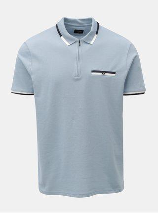 Světle modré polo tričko se zipem a náprsní kapsou Burton Menswear London
