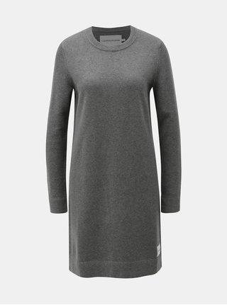 Šedé svetrové šaty s příměsí vlny Calvin Klein Jeans