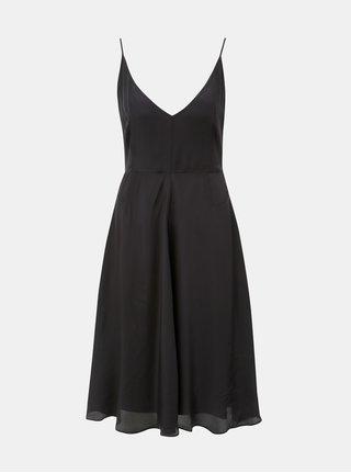 Čierne šaty na ramienka Calvin Klein Jeans