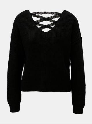 Čierny krátky sveter s čipkovaným šnurovaním Miss Selfridge