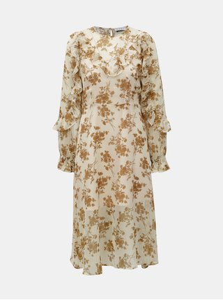 Béžové květované šaty se spodničkou 2v1 ELVI