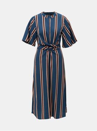 Modré dlouhé pruhované šaty se zavazováním Dorothy Perkins