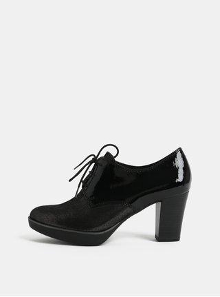 Pantofi negri luciosi din piele naturala si toc inalt Tamaris