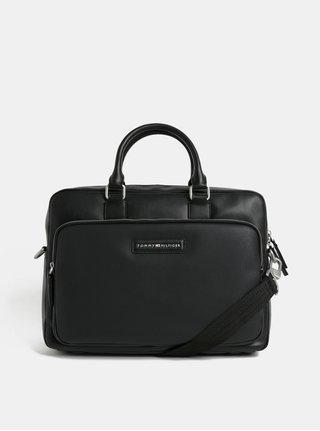 Černá koženková taška na notebook Tommy Hilfiger
