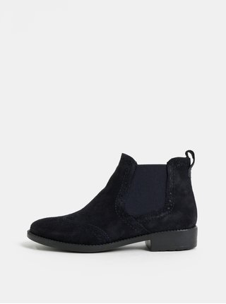 Tmavě modré semišové brogue chelsea boty Tamaris