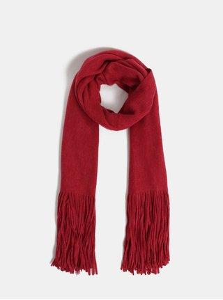 Červený šál so strapcami Pieces Drace