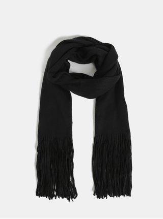 Čierny šál so strapcami Pieces Drace