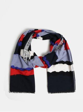 Modrý vzorovaný dámský šátek Tommy Hilfiger
