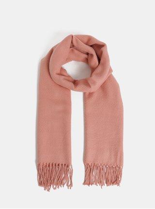 Ružový šál so strapcami Pieces Kial