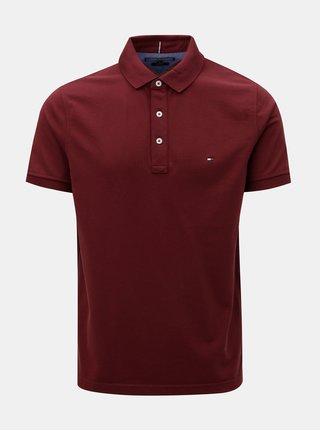 Vínové pánské slim fit polo tričko Tommy Hilfiger