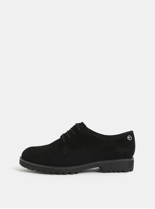 Pantofi negri din piele intoarsa Tamaris