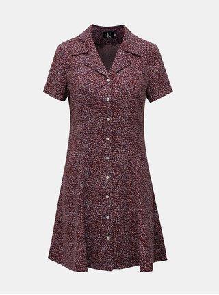Vínové květované košilové šaty s nášivkou Calvin Klein Jeans