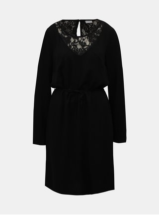 Rochie neagra din dantela cu cordon VILA Verly