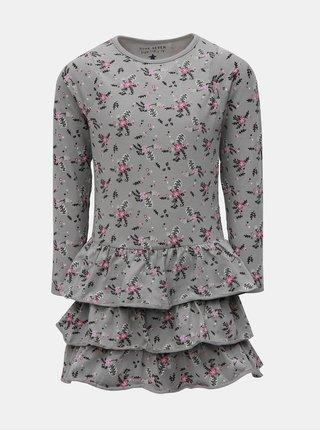 Sivé kvetované šaty s dlhým rukávom Blue Seven