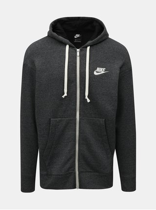 Tmavě šedá pánská žíhaná mikina na zip s výšivkou Nike Heritage
