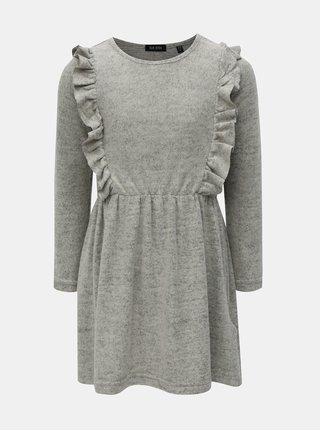 Sivé melírované šaty s volánmi Blue Seven