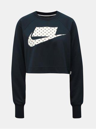 Bluza sport crop lejera albastru inchis cu print Nike