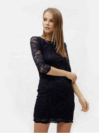 Tmavomodré čipkované šaty s prestrihom na chrbte VERO MODA  Sandra