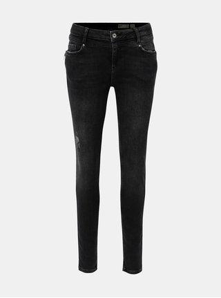 Tmavě šedé slim džíny se zipy VERO MODA Seven