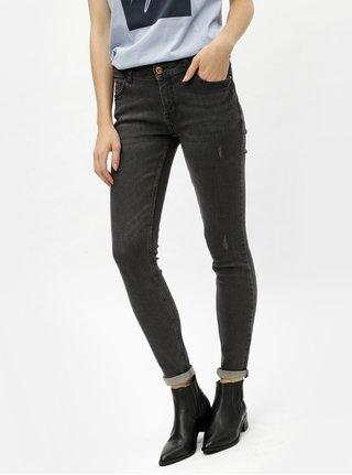 Šedé skinny džíny s vyšisovaným efektem Jacqueline de Yong Flora