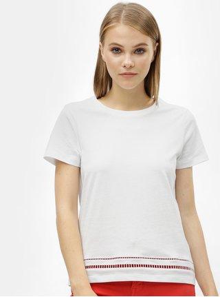 Biele dámske tričko s dierovaným vzorom Tommy Hilfiger Dechelle