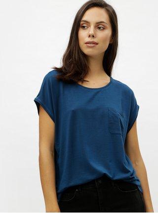 Modré basic tričko s náprsným vreckom VERO MODA Ava