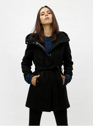 Černý zimní kabát s příměsí vlny VERO MODA Liva