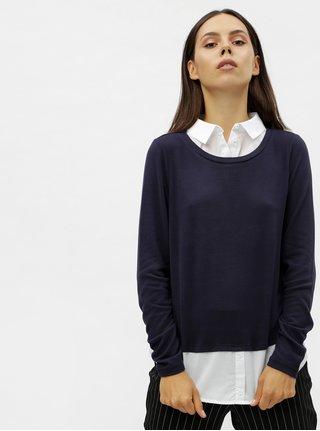 Tmavě modrý svetr s všitými košilovými vsadkami VERO MODA Jolene