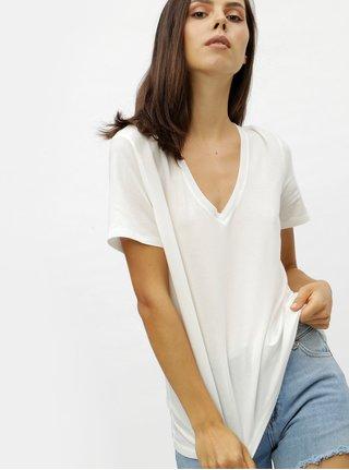 Biele basic tričko s véčkovým výstrihom VERO MODA Eva