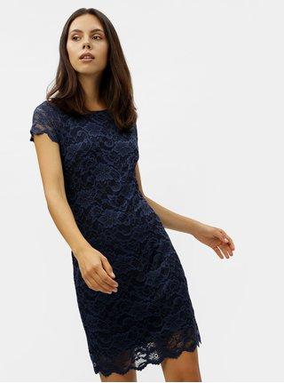 Tmavě modré krajkové šaty s krátkým rukávem VERO MODA Milli 7cb2d3e730