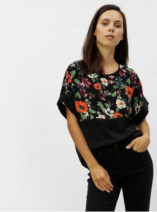Černý květovaný top s průstřihem na zádech VERO MODA Zoe