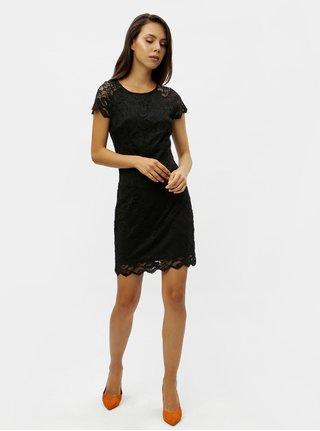 Čierne čipkované šaty s krátkym rukávom VERO MODA Milli