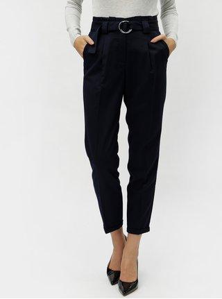 Pantaloni crop albastru inchis cu talie inalta VERO MODA Delfina