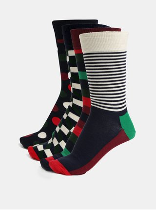 Set de 4 perechi de sosete barbatesti albastri, verzi si visinii cu model in cutie cadou Happy Socks Holiday