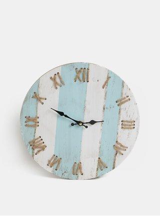 Bílo-modré nástěnné pruhované hodiny Kaemingk