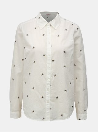 Biela dámska košeľa s výšivkami včiel Cath Kidston