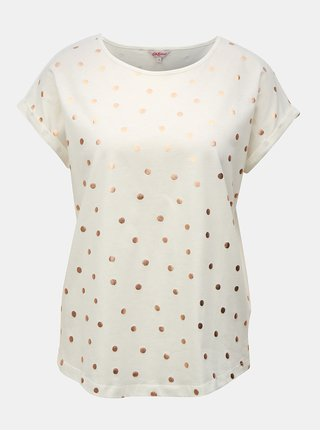 Krémové dámské volné puntíkované tričko Cath Kidston