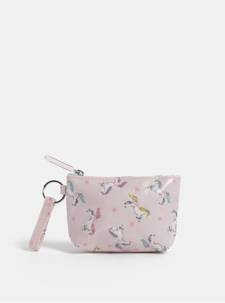 Svetloružová dievčenská peňaženka na mince so vzorom jednorožcov Cath Kidston