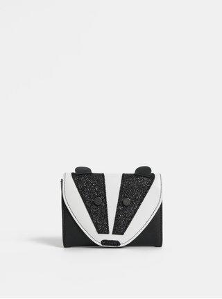 Bielo–čierna dievčenská peňaženka v tvare jazveca s ligotavými detailmi Cath Kidston