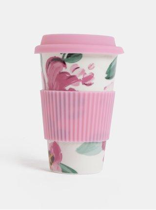 Krémovo-růžový keramický cestovní hrnek Cath Kidston 450 ml
