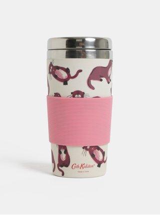 Růžovo-krémový bambusový termohrnek Cath Kidston 400 ml