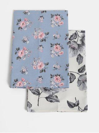 Sada dvou květovaných utěrek v bílé a modré barvě Cath Kidston
